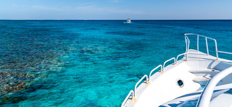 View from scuba diving boat on turquoise waters of the red sea in Marsa Alam.