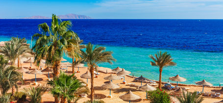 Beach umbrellas at Sharm el Sheikh resort next to tropical Red Sea and palm trees.