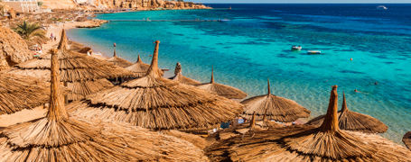 Straw umbrellas along the red sea coast line and shallow reefs of Sinai, Egypt