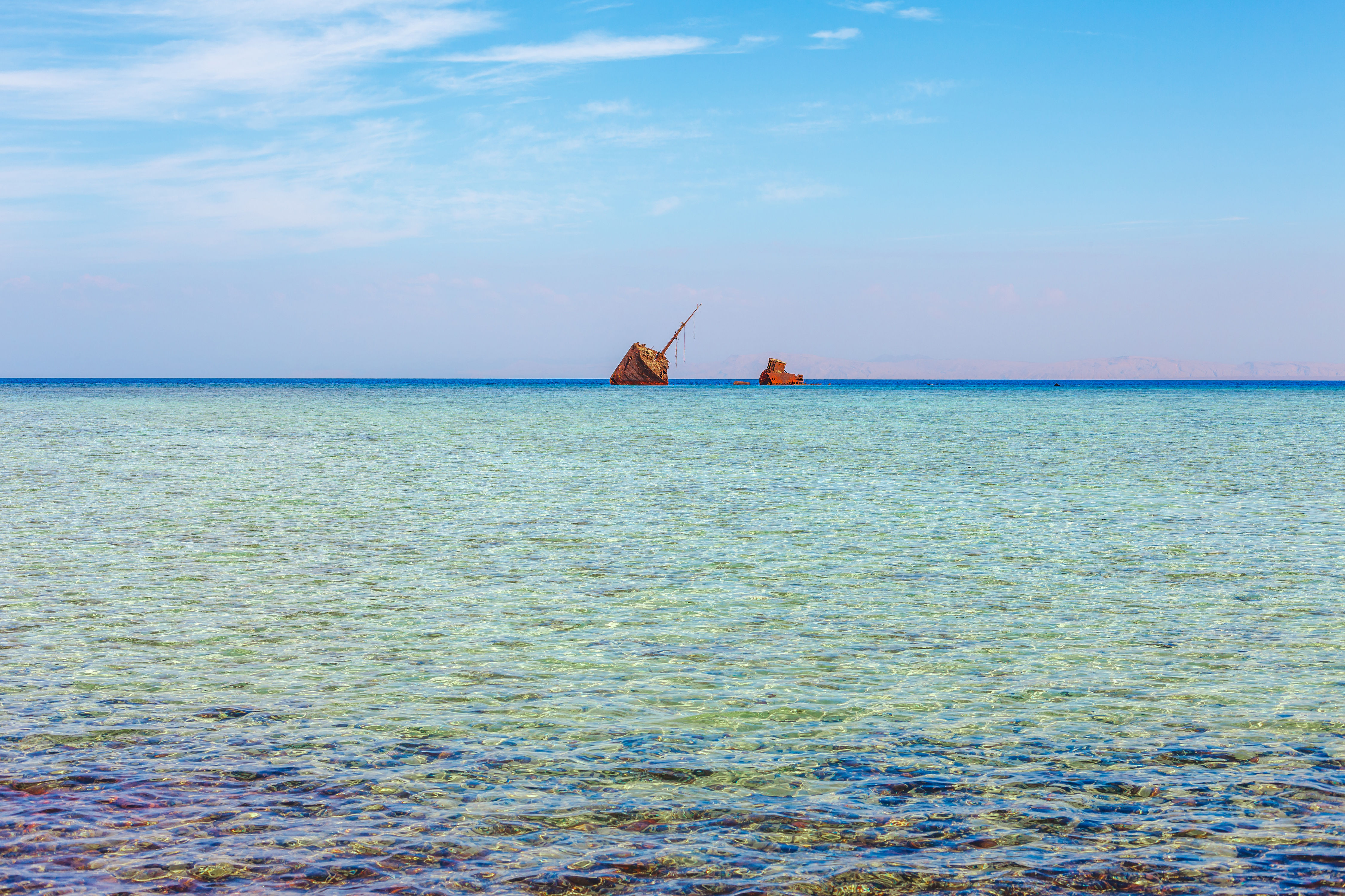 Red Sea coast, reef and wrecked ship in the Nabq National Park.