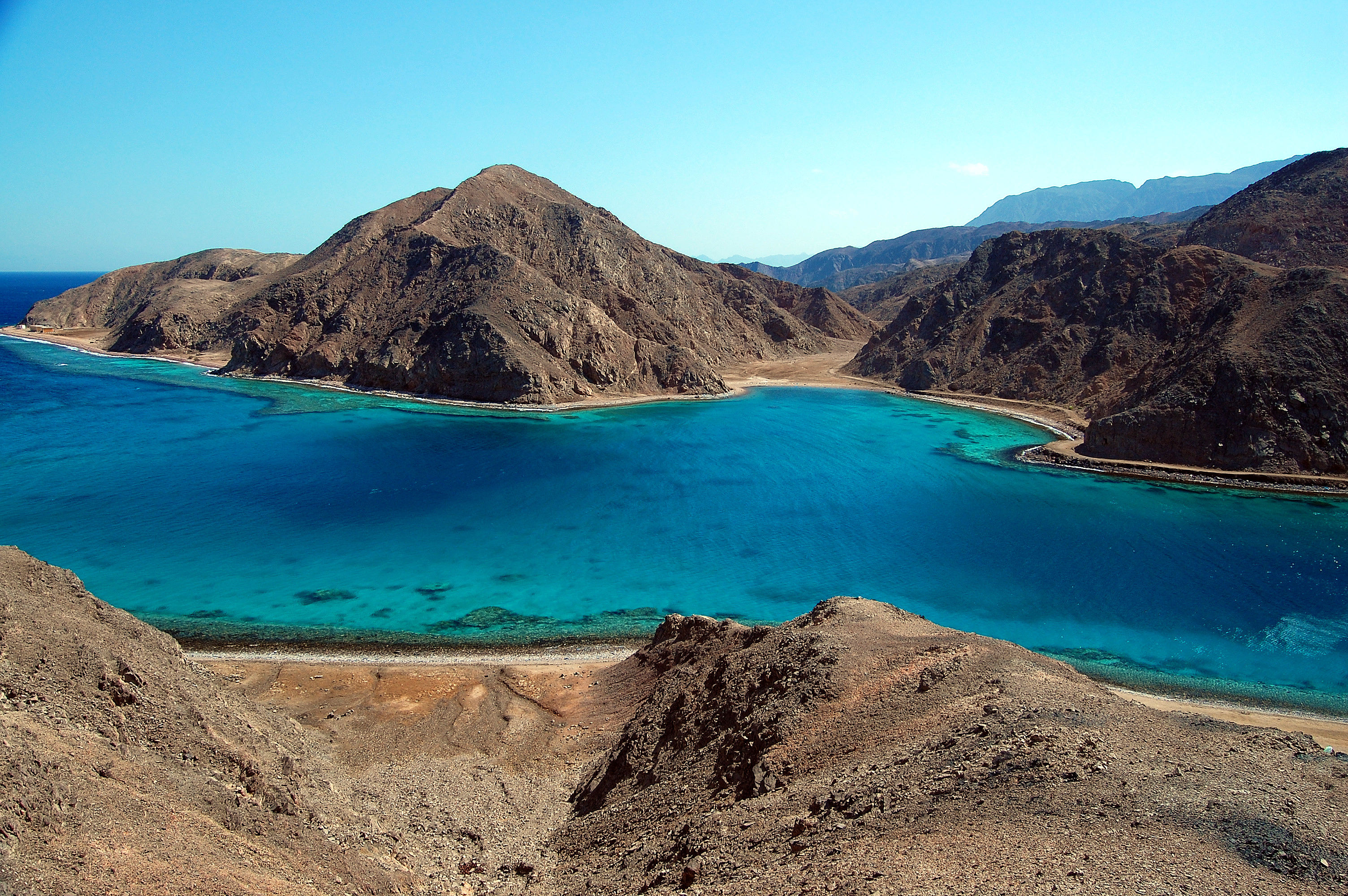 Beautiful view of Taba Heights, mountains and blue waters on the Sinai Peninsula in Egypt.