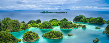Aerial view of tropical Pianemo Islands, Raja Ampat, West Papua, Indonesia.