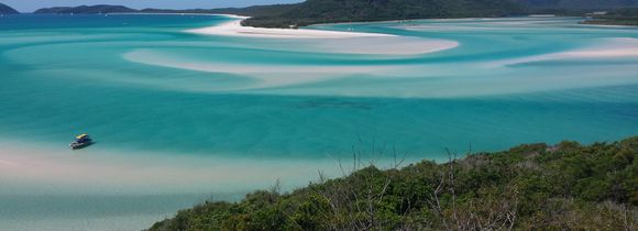 Panorama of Whitsunday Island in turquoise green waters and green trees in Australia, Oceania.