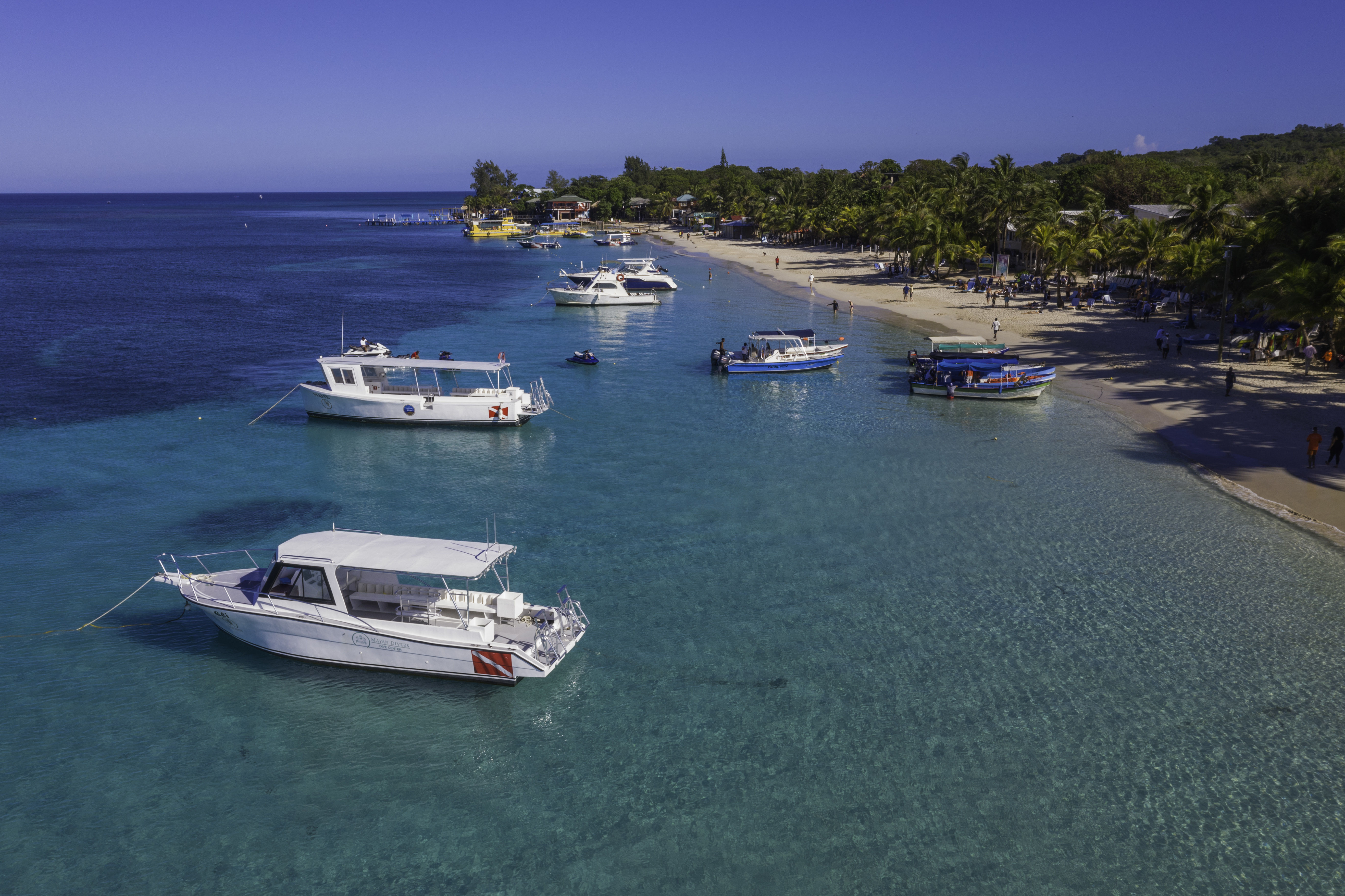 Small white scuba diving boats on clear turquoise waters next to beach in Honduras.