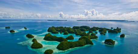 Aerial view of The 70 Islands in Palau, Micronesia.