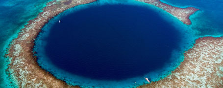 Aerial view of the famous Blue Hole, in Belize.