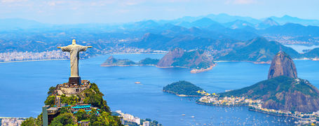 Aerial view of Rio de Janeiro with Christ Redeemer and Corcovado Mountain. Brazil.