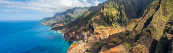 Rocky headland leading in to the ocean in Hawaii, USA.