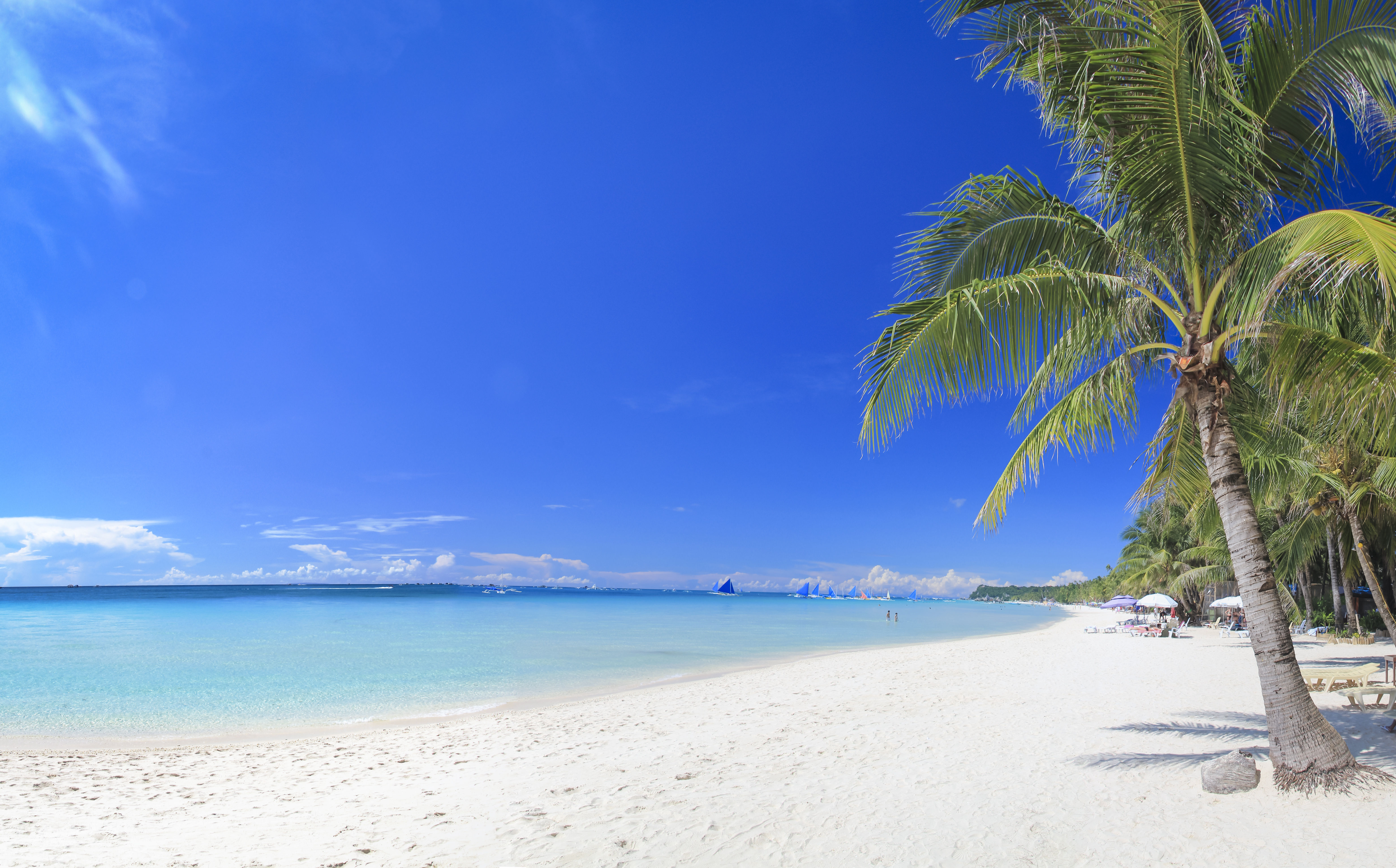 Stunning white sand beach with palm trees and crystal clear blue waters in Boracay, Philippines.