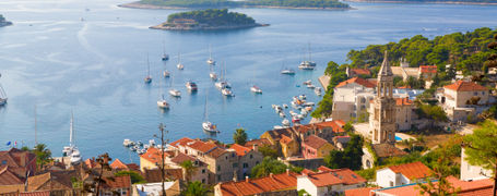 Beautiful view of harbor in Hvar town, Dalmatian Coast, Croatia