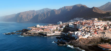 Aerial view of Los Gigantes cliffs, Tenerife, Canary Islands, Spain