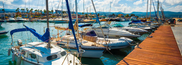Pleasure boats in Paphos District, Cyprus