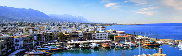 Beautiful view of the Kyrenia Bay in Kyrenia (Girne), Northern Cyprus