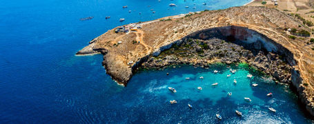 Aerial view of Mistra Bay, Xemxija, Northern Region, Malta.